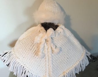 Hand Made White Poncho and Hat Set