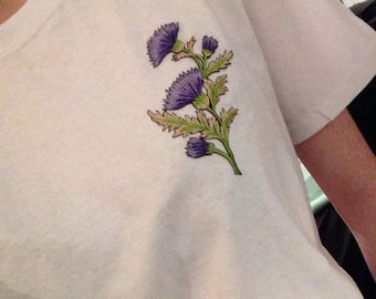 womens t shirt with thistle flower patch