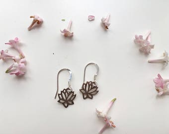 Silver sterling Lotus flower earrings