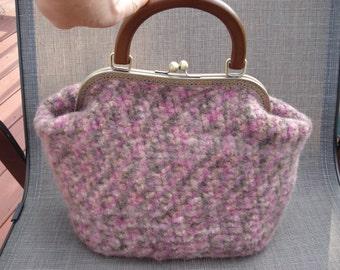 Hand felted HANDBAG 100% wool green/burgundy/pink multicolor NWOT