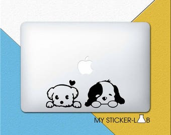 Dog MacBook Decal Dog MacBook Sticker Cute Two Cartoon Dog Sticker Dog Decal Puppy Decal Animal Sticker Dog Pet Sticker MacBook Vinyl m217