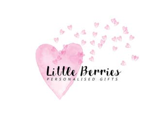 Premade logo, logo design, watermark design, photography watermark, logo brand. Watercolour logo, pink heart, watercolour hearts, whimsical
