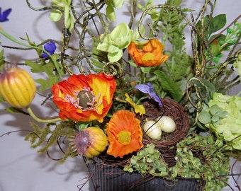 Silk Floral Arrangement,Summer floral,Table arrangement//orange, yellow, green, grey, purple// Silk Floral