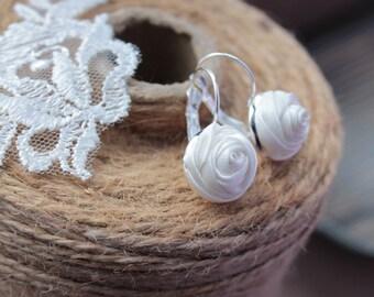 Fabric earrings Rose earrings Little aerrings White textile earrings Fabric Flower earrings Floral jewelry Gift for her Small earrings