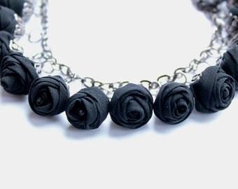 Fabric bracelet Rose bracelet Black textile bracelet Fabric jewelry Flower bracelet Floral jewelry Clusters bracelet Friendship bracelet