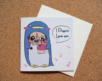 Puguin Love You - Square Greeting Card - 141mm x 141mm