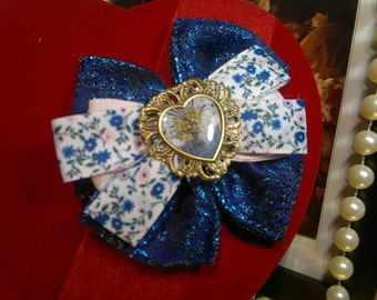 Vintage  inspired Blue and pink  stacked Handmade Hair Bow with heart detail