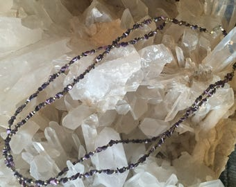 Amethyst and sterling silver multi strand necklace