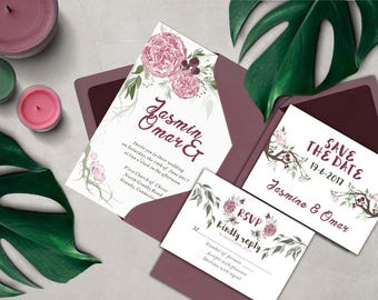 floral watercolor printable wedding invitation set, The Peony , pink,burgundy and green wreath wedding invitation set