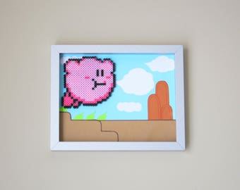 Kirby Framed Perler Bead Art