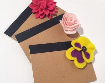 Felt flower A5 notebooks