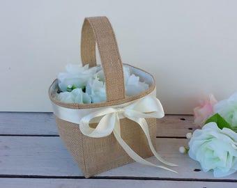 Burlap flower basket, burlap flowergirl basket