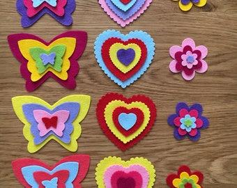 Die cut felt shapes, wool blend felt shapes, butterflies, flowers and hearts die cut felt shapes, felt die cuts, felt shapes