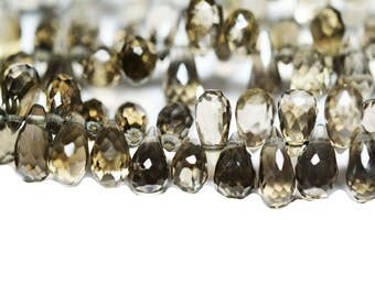 AAA quality Smoky Faceted Drops  / 3.5-5 mm