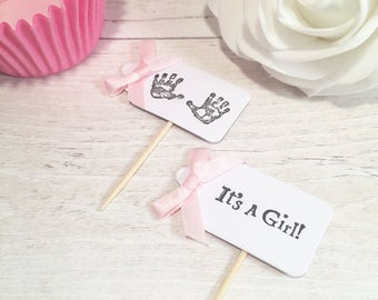 Handmade Cupcake Flags - It's a girl