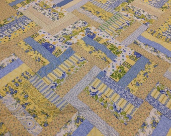 Field of Flowers Hand Quilted / Yellow and Blue Quilt / Strip Quilt
