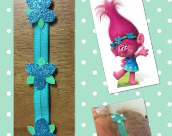 Poppy Troll Inspired Headband with Glitter Flowers
