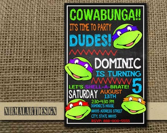 Ninja Turtle Invitation, Ninja Turtle Birthday, Ninja Turtle Party, Ninja Turtle Card, Ninja Turtle Printable, Ninja Turtle, TNMT, Ninja