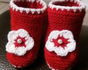Slipper boots baby red white flower