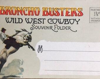 Vintage Postcards, Vintage Broncho Busters, Souvenir Wild West Cowboy Folder, Antique, Western Vintage Postcards, Rodeo Memorabilia