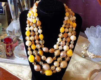 Fantastic set of a three stranded necklace and clip earrings they are yellow and gold and made in West Germany.