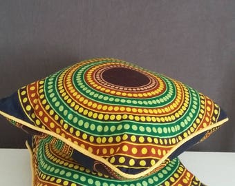 Cushion with African wax print fabric