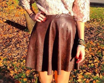 custom-made - chocolate brown suede - skater skirt