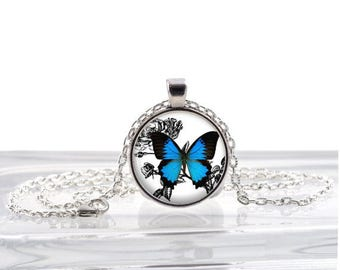 Blue Butterfly Dome Pendant Necklace