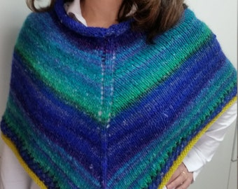 Wool poncho, handmade Silk and Mohair. Handmade.