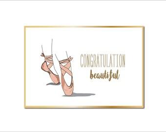 Ballet Pointe. Printable Art Print. Congratulation Card