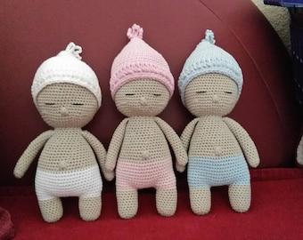Amigurumi baby doll, doll, doll crocheted blue