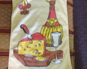 Vintage Cheese Wine Towel Yellow