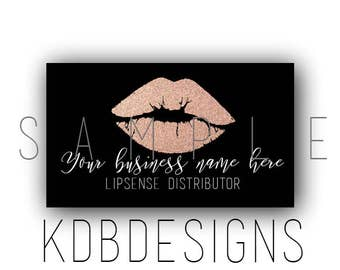 Rose Gold and black Lipsense Business Cards, SeneGence Business Card, Lip Sense Business Cards, Lipsense Printable,