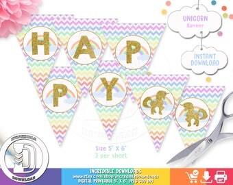 Unicorn Birthday Banner, Rainbow Birthday Banner, Unicorn Birthday party decorations,  Party supplies INSTANT Download, Printable