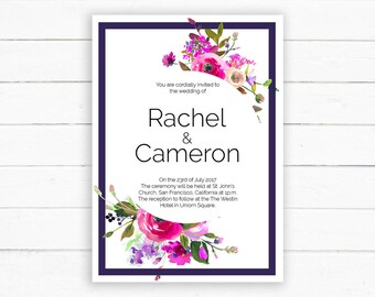 Peek-A-Booquet Wedding Invitation - Fresh