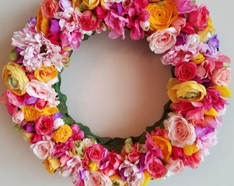 Spring Flower Wreath, 16 inch, Spring Floral Wreath,  Floral Wreath,  Flower Wreath,  Bright Wreath