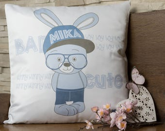"Cushion ""Bunny"" with name / your name"