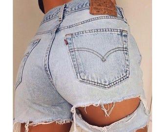 Ripped denim shorts | Etsy