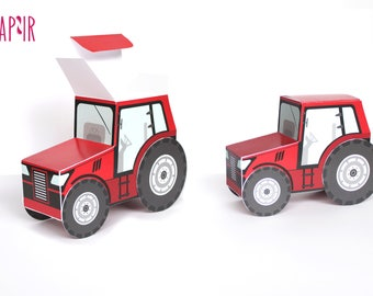 Red Tractor Box - perfect to use as a gift or surprise box for birthday parties!