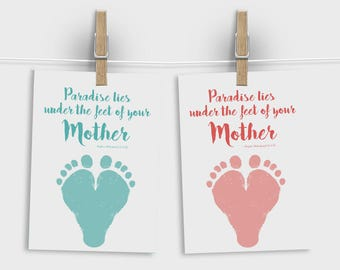 Printable Mothers day card, Gift for muslim mom, Mum printable, Mum card unique, DIY mum gift , Gift for Mum, Muslim wall art, Paradise Mum