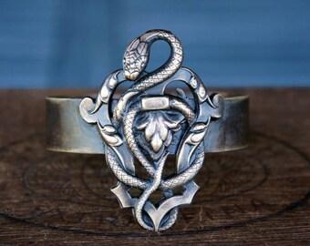 Art Nouveau French Brass Snake Cuff Bracelet