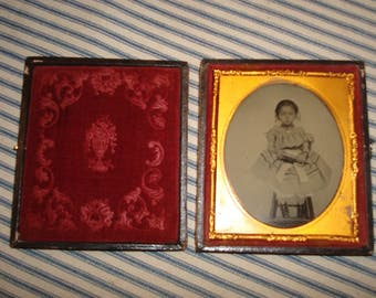 Ambrotype of young girl on chair holding book wearing jewelry - mixed race FINE image
