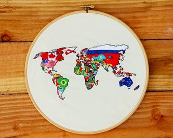 Map of the World Countries Flags Handmade Embroidery