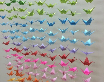 1000 Ombre Colourful Paper Cranes On String - Origami Cranes- 50 strands - Set of 20