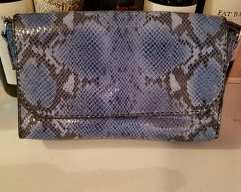 Blue Leather Snakeskin Purse