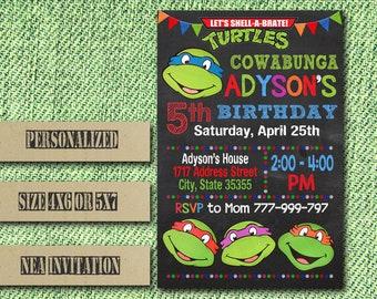 Ninja Turtle Invitation / Ninja Turtle Birthday Invitation / Ninja Turtles / Ninja Turtle Birthday / Ninja Turtle Party / TMNT Invitation
