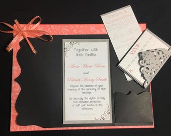 Black and Coral Ribbon and Gems Wedding Invitation, Response Card, Directions/Accommodations Card Set w/ Envelopes | A We Do Too Original!