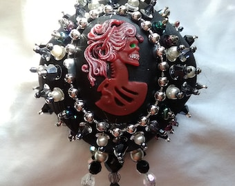 Kiss of Death beaded sequin Halloween tree ornament