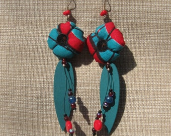 Tissues wax earrings, wood, and pearls
