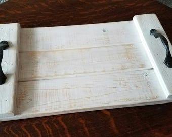 Rustic hand crafted wood tray, custom size
